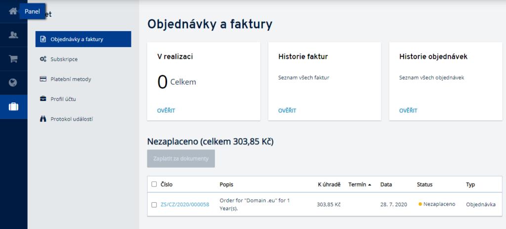 Jak mám zaplatit službu IONOS v zákaznickém panelu?