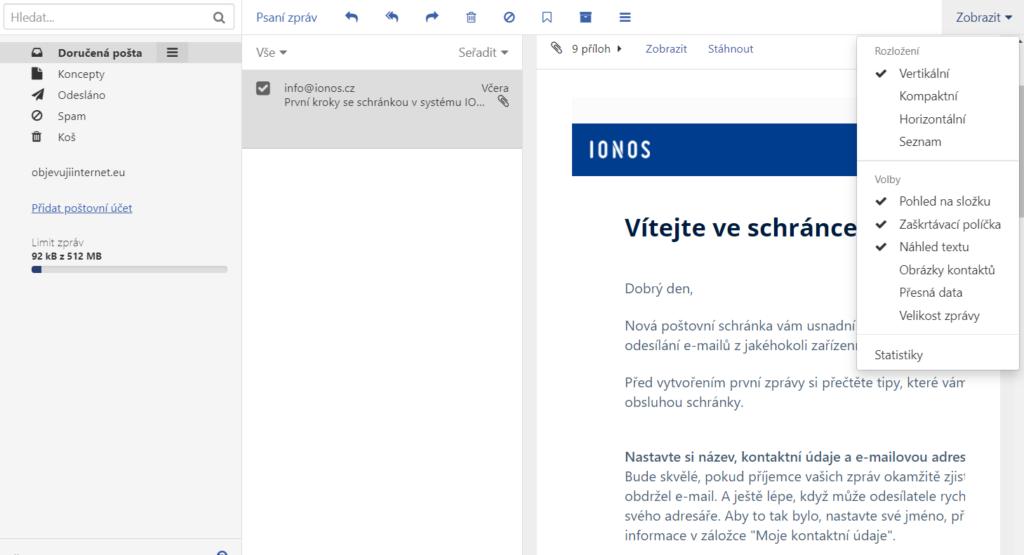 Jak přizpůsobit vzhled Mailu IONOS Vašim preferencím?