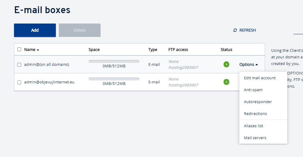 Jak přejít k nastavení e-mailové schránky v IONOS?