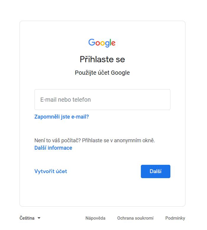 Přihlášení – účty Google